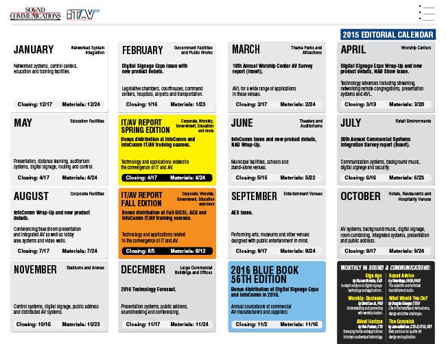 SoundandCommunications 2015 Editorial Calendar