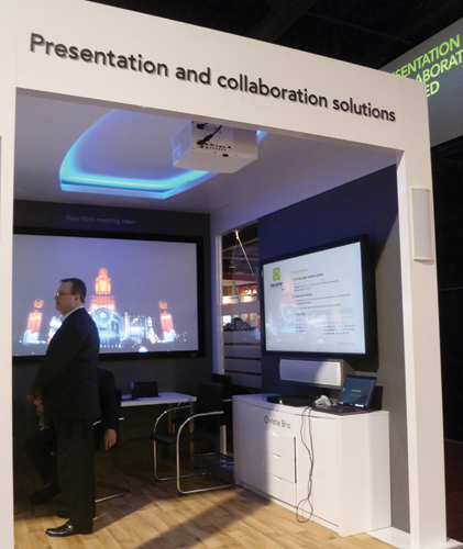 Christie Brio for presentation and remote collaboration was shown in a huddle room.