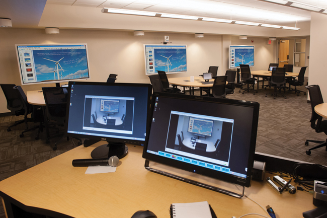 The laboratory at the Doceo Center for Innovation and Learning includes five student collaboration stations, an instructor's workstation, plus the technology required for video outreach through two-way distance learning, video on demand and Massive Open Online Courses.