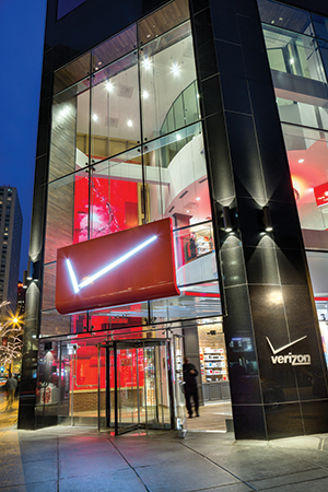 The Verizon Wireless Chicago exterior features 10-foot-wide by 35-foot-tall videowall.