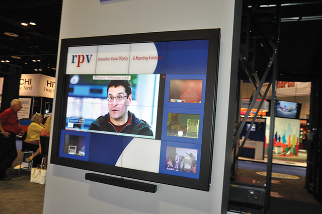 RPV's interactive display integrate objects with digital video to promote solutions and services.