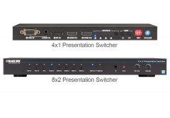 Black Box AVSC-0802H 8x2 presentation switcher and AVSC-0401H 4x1 presentation switcher