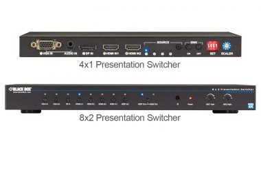 Black Box AVSC-0802H 8x2 presentation switcher and AVSC-0401H 4x1 presentation switcher