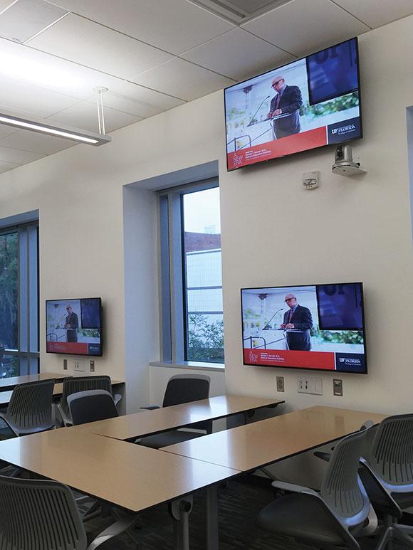 Each 40-person classroom has videoconferencing capabilities.