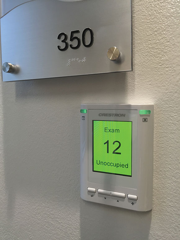 An occupancy indicator for hospital simulation training rooms.