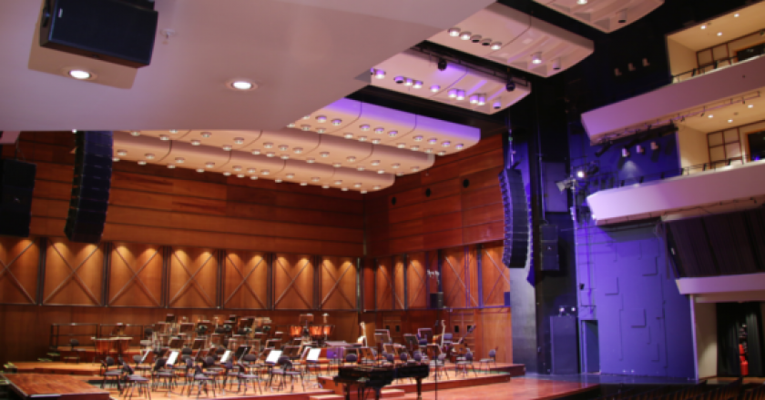 The new Adamson S-Series sound reinforcement system at Olavshallen utilizes S10 line arrays and S119 subwoofers as well as Point 8 loudspeakers for under balcony fill.