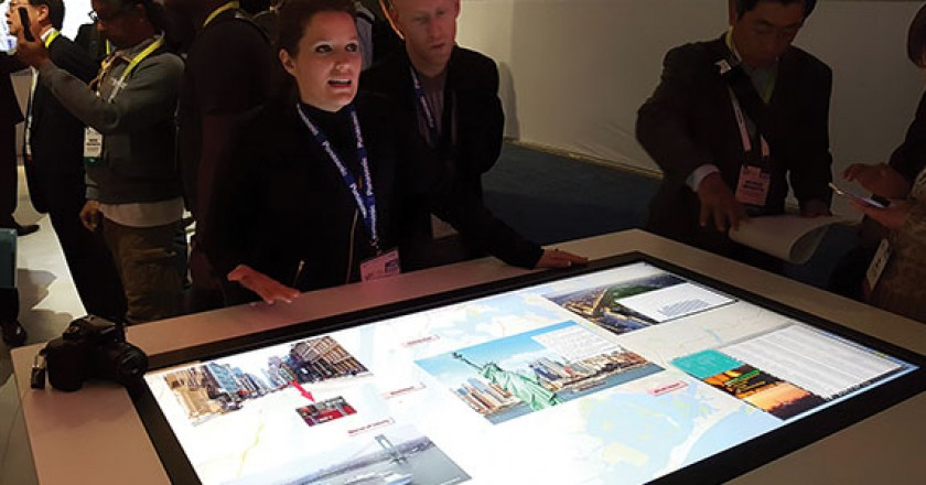 Panasonic showed an 8K 10 multi-touch interactive table that can be wall mounted.