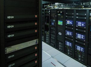 The new climate-controlled rack room contains 22 AV racks.