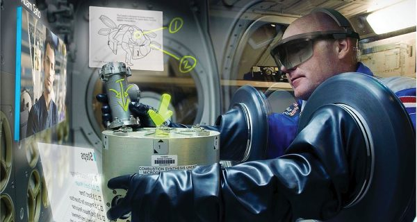 Microsoft HoloLens augmented-reality headset in use aboard the ISS, as part of Project Sidekick.