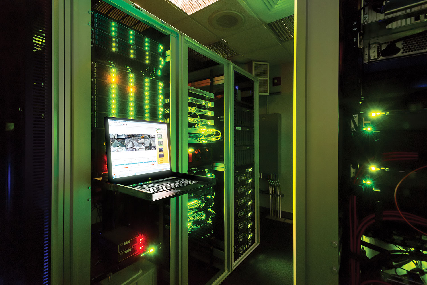 The DCS server room houses an array of redundant mission-critical gear. Locating the servers, switches, power supplies and other equipment in this room removes virtually all noise from the operators' work area.