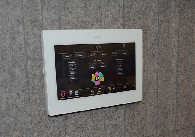 In-wall touchscreens offer full control.