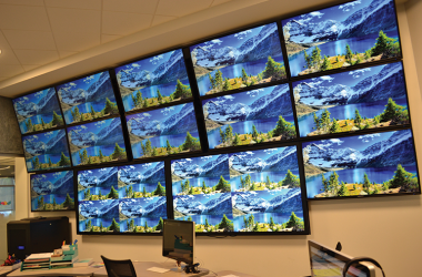 A 14-screen array in the social media room helps BrandStar staff members deal with clients' media needs, such as Facebook and Twitter, and helps manage their accounts and provide advertisement services.