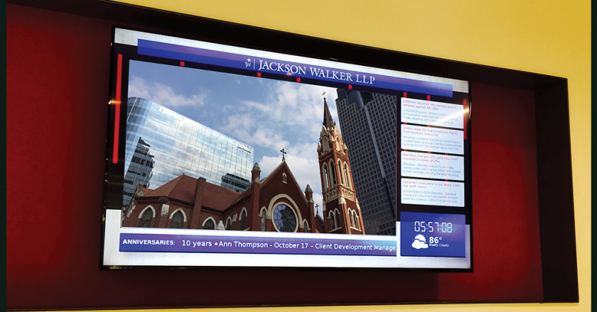 Jackson Walker's digital signage content features custom widgets and video produced by Facility Solutions Group.
