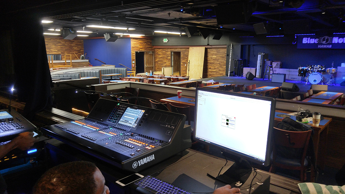 The FOH accommodates larger, high-quality mixing and monitoring consoles.