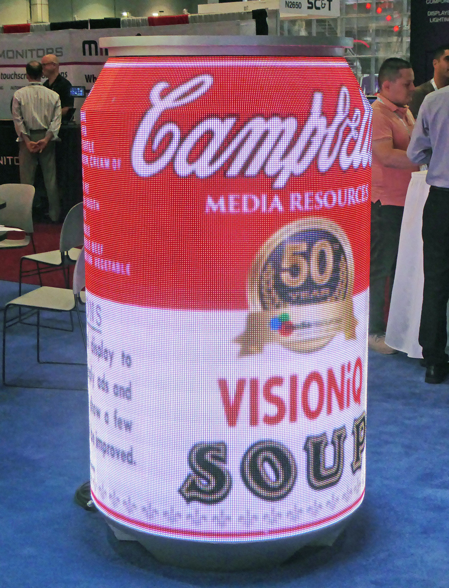 LED tiles can be assembled in unusual shapes, such as this six-foot-tall Campbell's Soup can with rotating images.