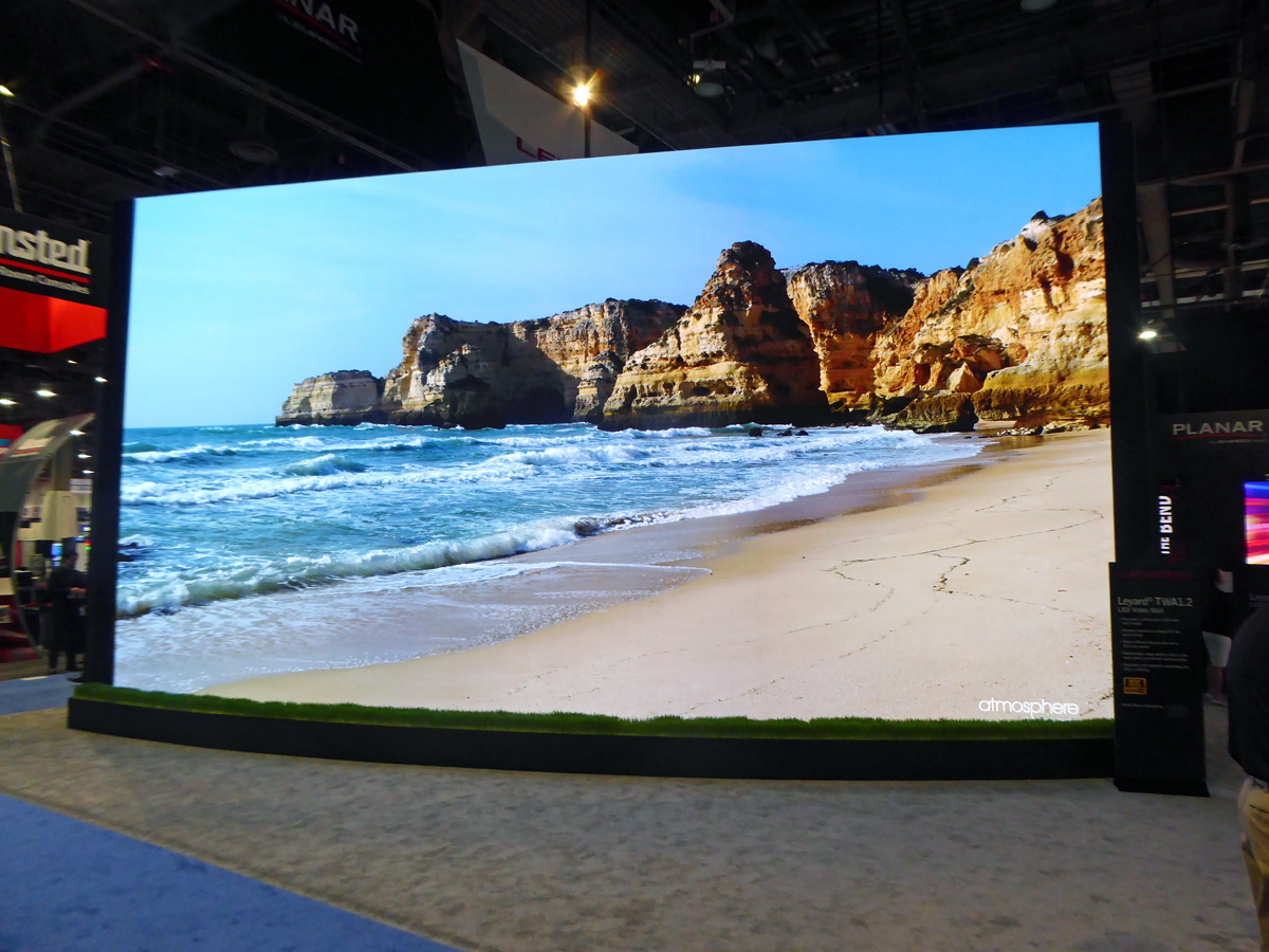 This 8K LED videowall, shown at InfoComm, measured more than 100 feet diagonally, and it can display high dynamic range (HDR) content.