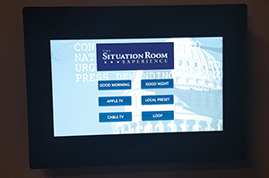 This is administrative system touchpanel is located at the press podium. The media server and audio DSP were engineered to control all local AV systems.