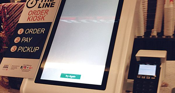 This self-order kiosk was unusable during the busiest time of day, due to a problem with the printer.
