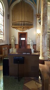 Two small subwoofers are concealed behind the decorative, non-functional organ pipes in the choir area to provide low-frequency comfort level to local singers and musicians, while enhancing the overall low-frequency performance of the sound system.