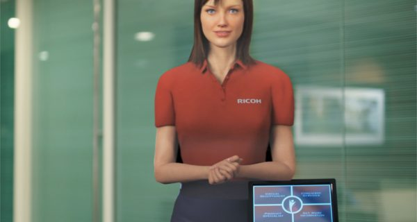 This virtual presenter can be customized in appearance and programmed to speak a desired language.