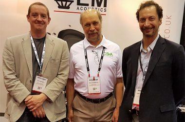 Ed Kinsella, EM Acoustics; Rich Trombitas, CS&A; Jim Shearing, EM Acoustics North America