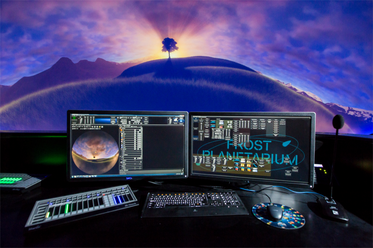 Mission control for Sky-Skan DigitalSky Dark Matter software, synchronizing picture and sound.