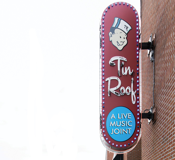 Tin Roof comes into a highly competitive strip of bars and club venues on Memphis' famed Beale St. AV is an important part of the club's differentiation strategy.