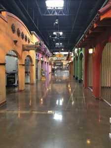 A look at one of the calles, which are well-lit and speaker-equipped hallways that lead off the main court area.