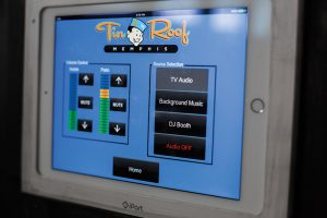 One of several touchpanels that let venue managers easily manage AV systems.