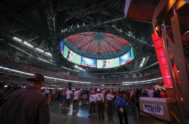 The remarkable 62,000-plus-square-foot Halo videoboard is the first thing you see when you walk in, and it demands your attention throughout the game.