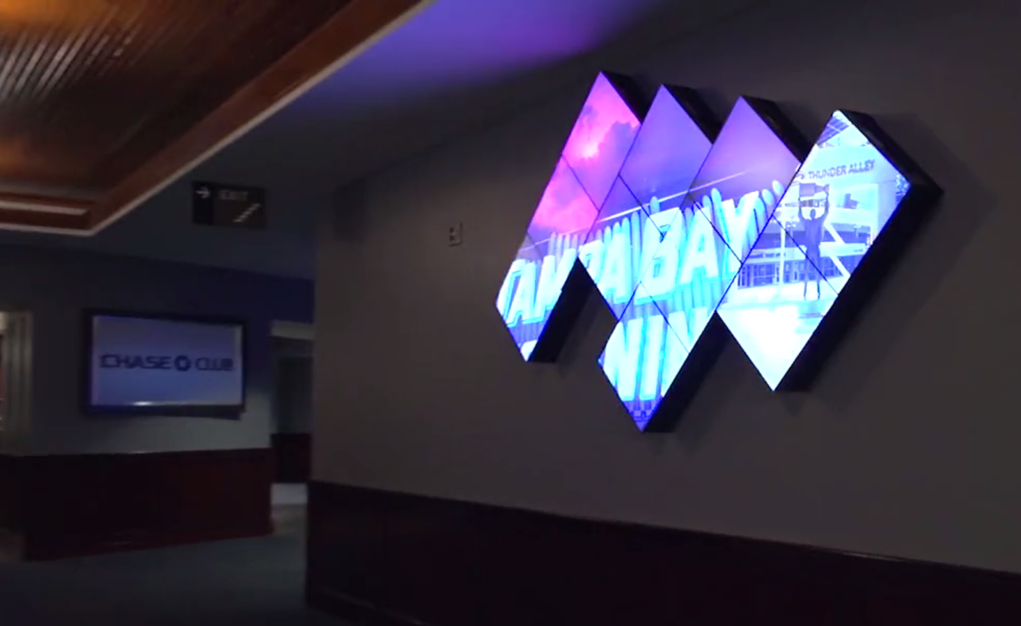 An artistic videowall at the NHL's Amalie Arena at the entrance of the Chase Club. It's part of an upgrade project to enhance the fan out-of-bowl experience with stunning visuals.
