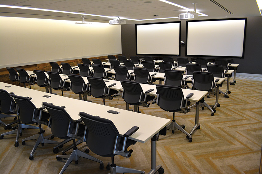 The multi-purpose boardroom offers audio- and videoconferencing capabilities.