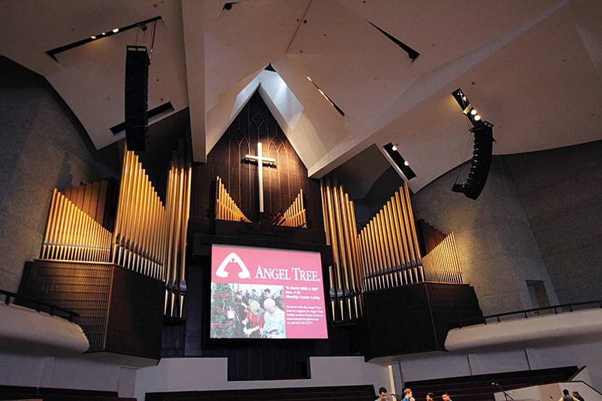 Lake Avenue Church's main sanctuary is a visually impressive performance space whose aesthetic is dominated by a massive pipe organ. The building features a unique acoustic design, with extensive acoustic treatment on the ceiling and walls.
