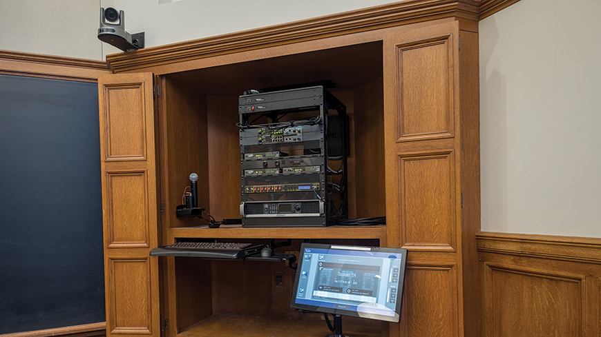 A view of Yale Law School classroom 124's equipment rack. Local rack equipment is reduced, as all other equipment is in the master control rack.
