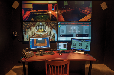 A view of the Yale Law School master control room. It's built to operate all the classrooms in the Sterling Law Building and Baker Hall.
