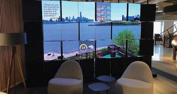 This innovative videowall positions the company as a creative and tech-advanced place to work. As seen in this image, individual LED panels are in rotational mode, and they will create a dramatic, mosaic-like visual experience.