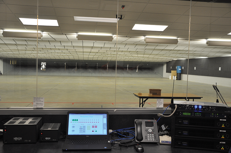 Even the indoor shooting range needs a control room to manage its complement of technology.