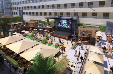 As seen in this CAD rendering, The Box Garden stage features a huge, 6mm-pixel-pitch LED videowall.