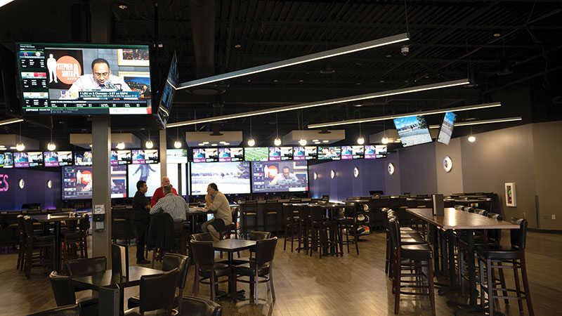 With the vast numbers and careful placement of screens in the bar area, customers don't have to look far to watch their favorite sports games.