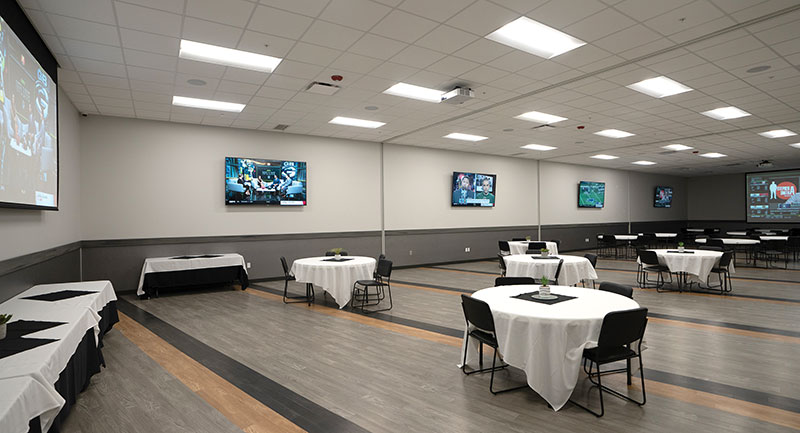 Divisible meeting rooms in All-Star Bowling can hold up to 300 guests when opened to their full size.