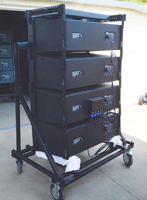 The cabinets can be wheeled out of the way on the custom cart, so the next four can be taken down and then stored.