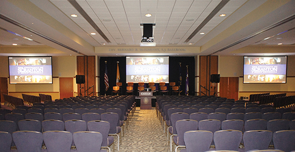 The McIlhenny Ballroom is the largest integrated AV meeting space at the University of Scranton. It can be divided into two or three separate meeting spaces, each with independent media control.