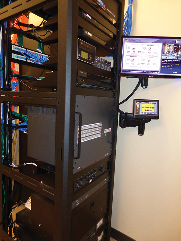 The main audiovisual distribution center is equipped with a touchpanel and monitor that allow technicians to independently view and route content to 20 individual displays and projection systems in the building.