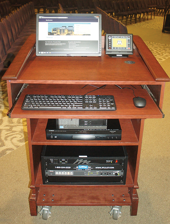 Five identical AV podiums provide a variety of localized source options, including built-in PC, Blu-ray player and AirMedia devices, as well as separate digital and analog connectivity options.