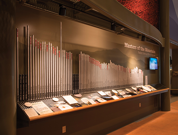 The records wall with video display.