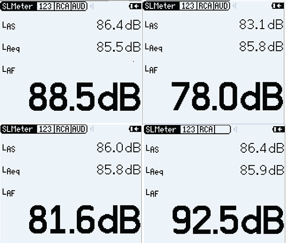 Figure 1. Snapshots of a sound level meter screen, made a few seconds apart, during a measurement of the same speech sample.