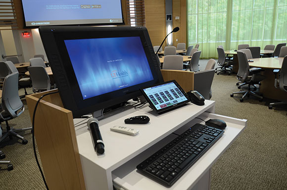 One of the teaching consoles, located in Learning Studios 125 and 135.