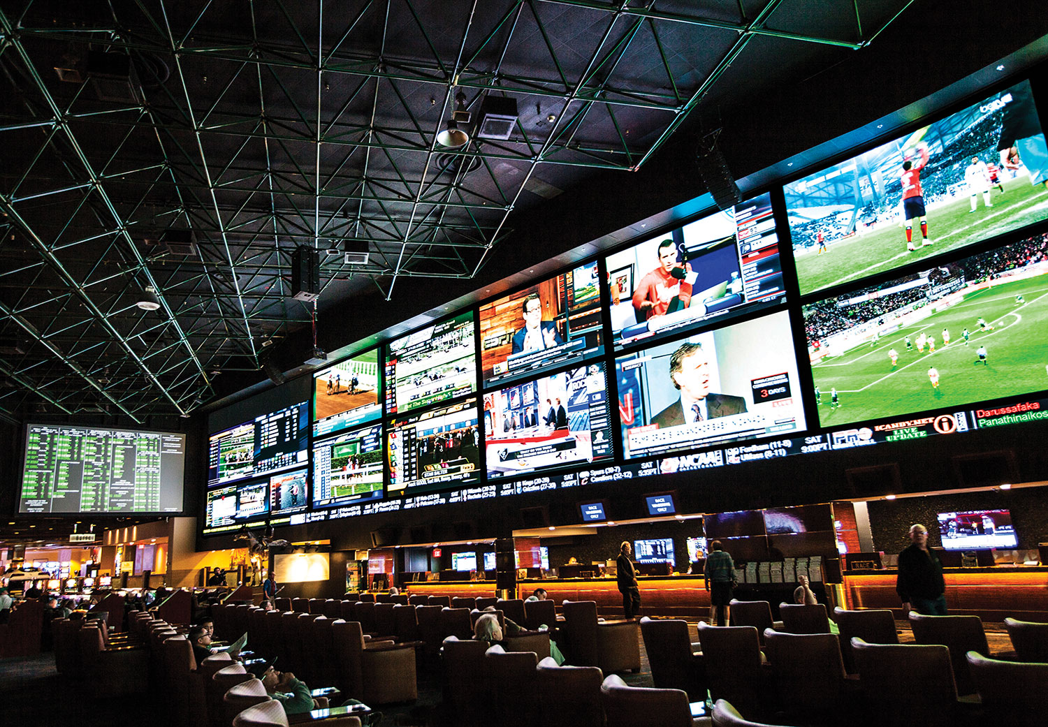 Left side of the videowall and temporary betting stations.