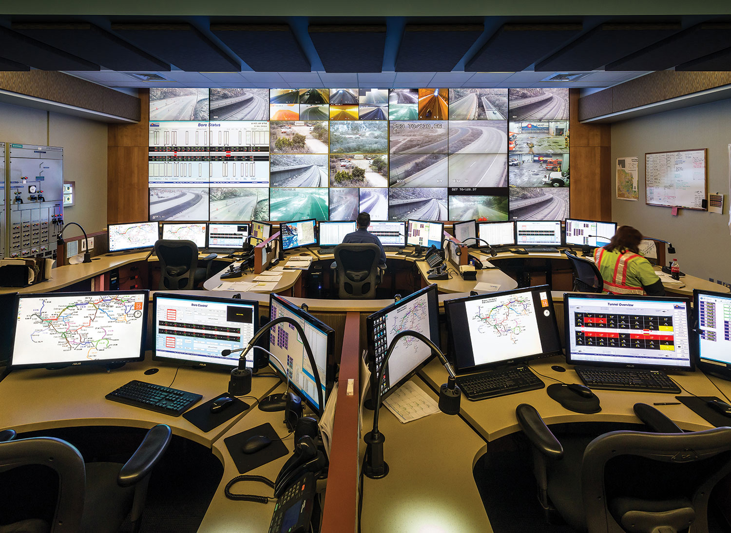 The control room, located above one of the tunnel bores, features five operator workstations. The video selection is designed to provide a sequential view of the highway, organized to reduce workload. Critical life-safety alarms are audibly reported to operators so the operators can remain focused on key tasks.