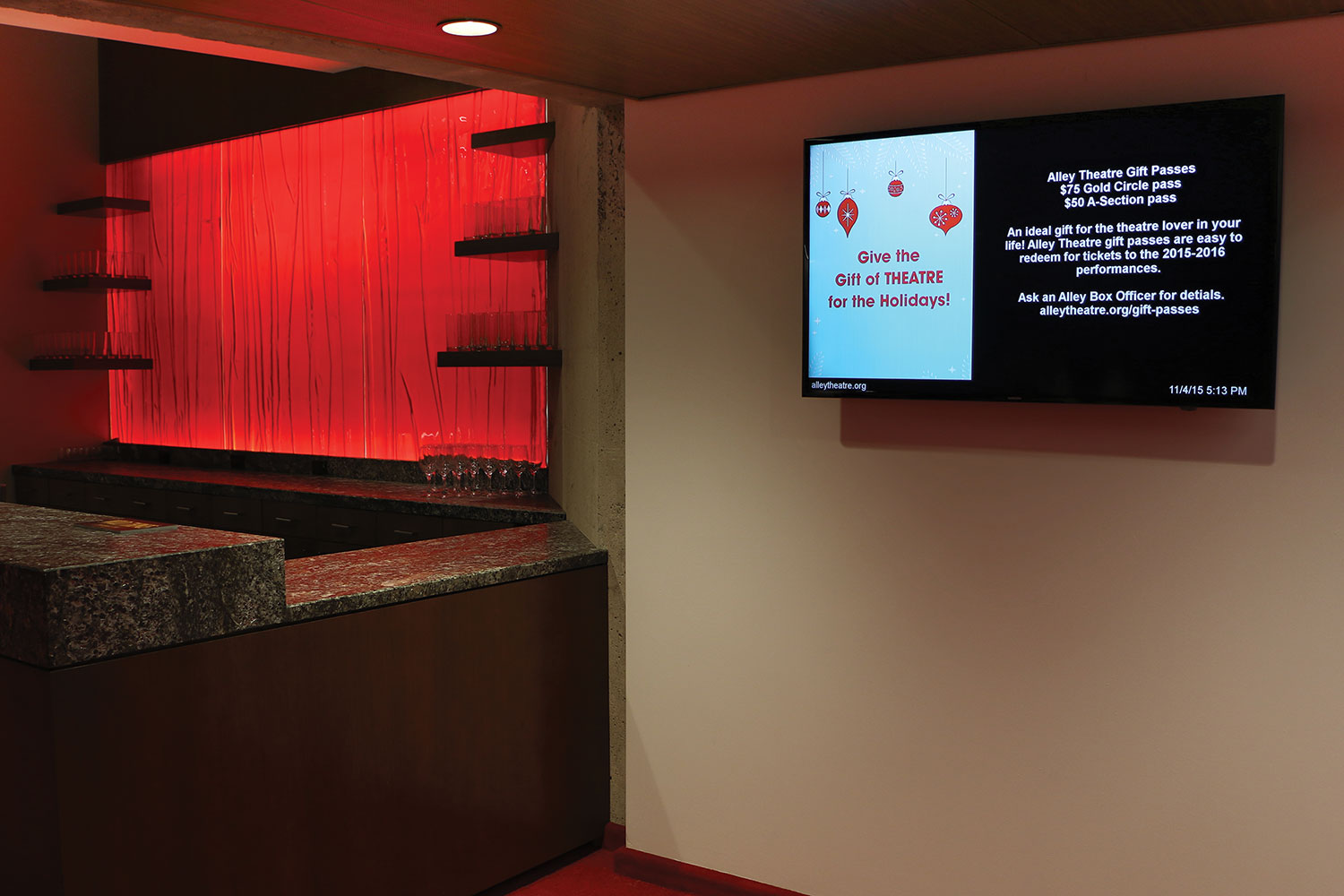 Large LED displays were installed in conjunction with a digital signage system to complement the renovated box office and lobby areas.